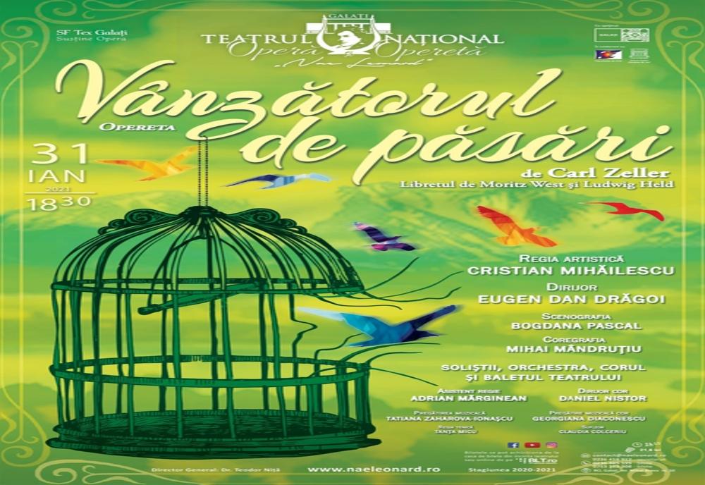 """Teatrul Naţional """"Nae Leonard"""" se redeschide cu opereta Vânzătorul de păsări"""