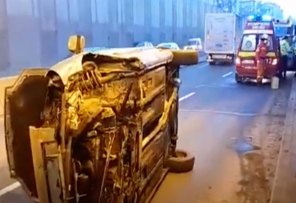 Accident grav, în Pasajul Băneasa: două victime, după ce o mașină s-a răsturnat