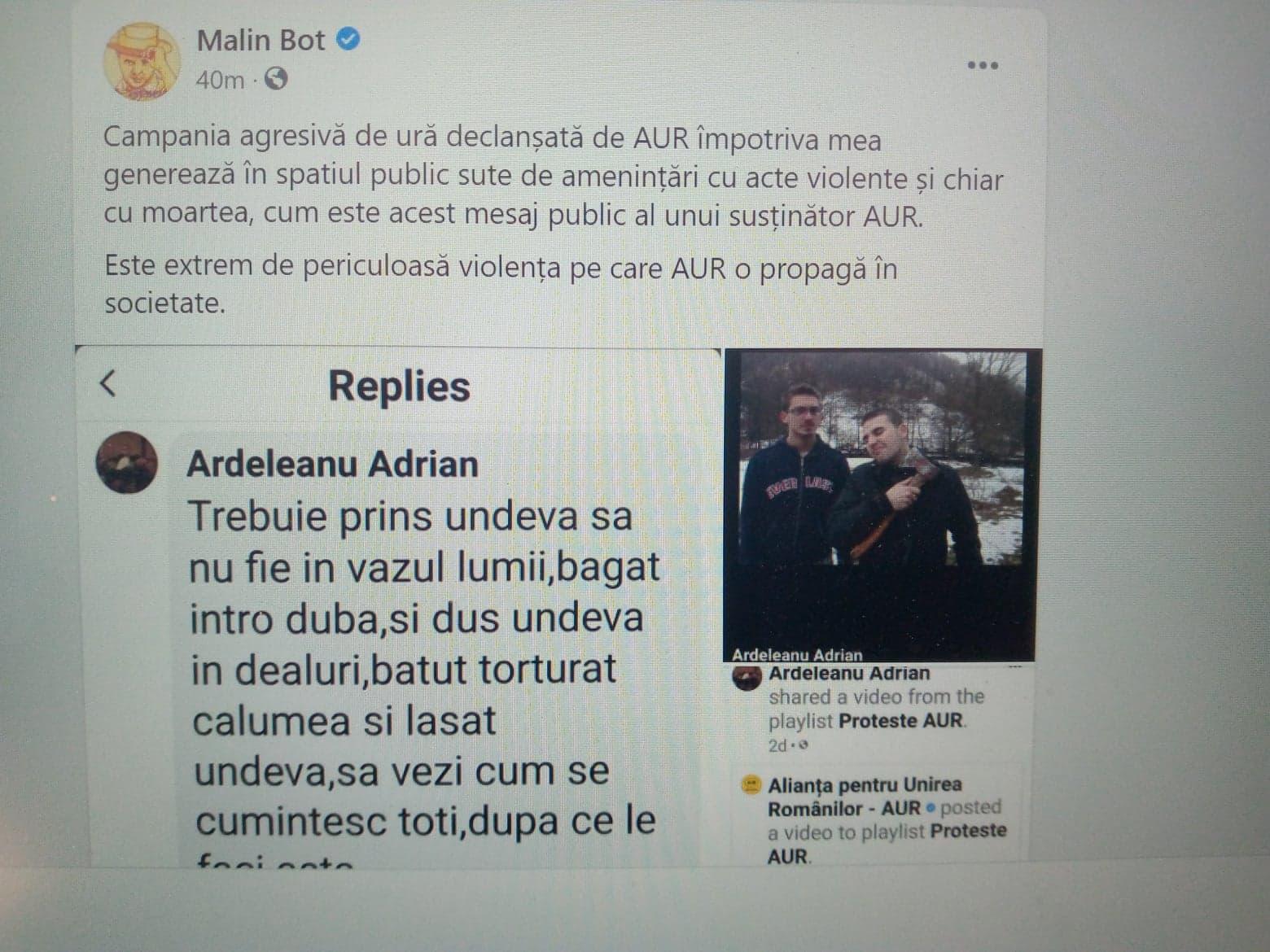 """""""Trebuie băgat în dubă, dus în dealuri, bătut și torturat"""". Amenințarea unui fan AUR la adresa lui Mălin Bot"""