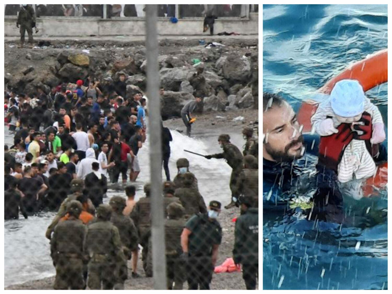 Incredibile imagini! Invazie fără precedent de imigranți dinspre Africa: Spania trimite Armata să reziste valului uman