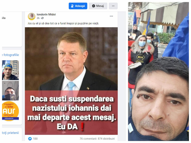 """Militant AUR: """"Dacă susții suspendarea nazistului Iohannis, dai mai departe acest mesaj. Eu, DA!"""""""