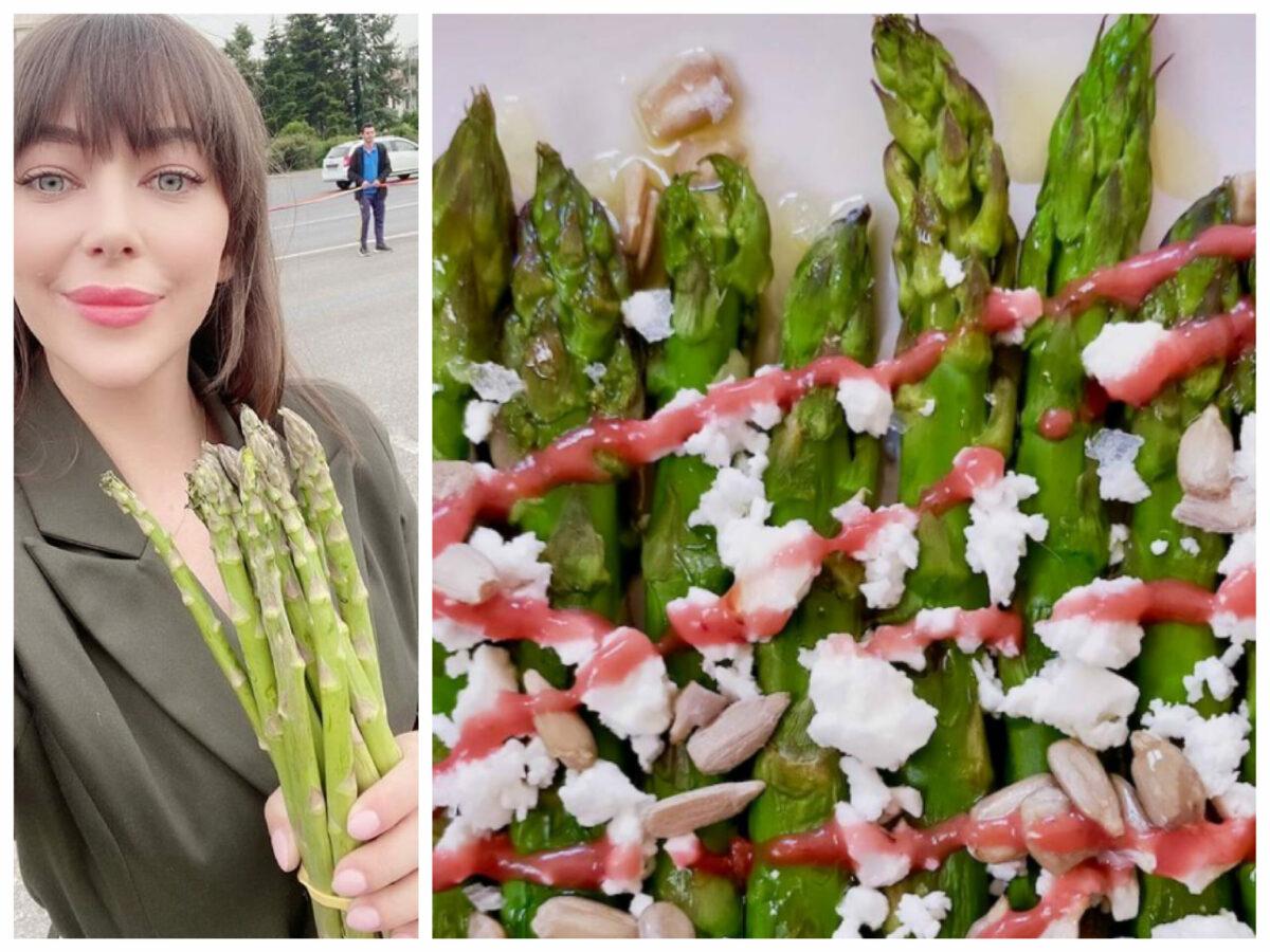 Ce n-a spus Oana Lovin despre sparanghel: rețeta suavă cu brânză de capră, căpșuni cărnoase și arahide