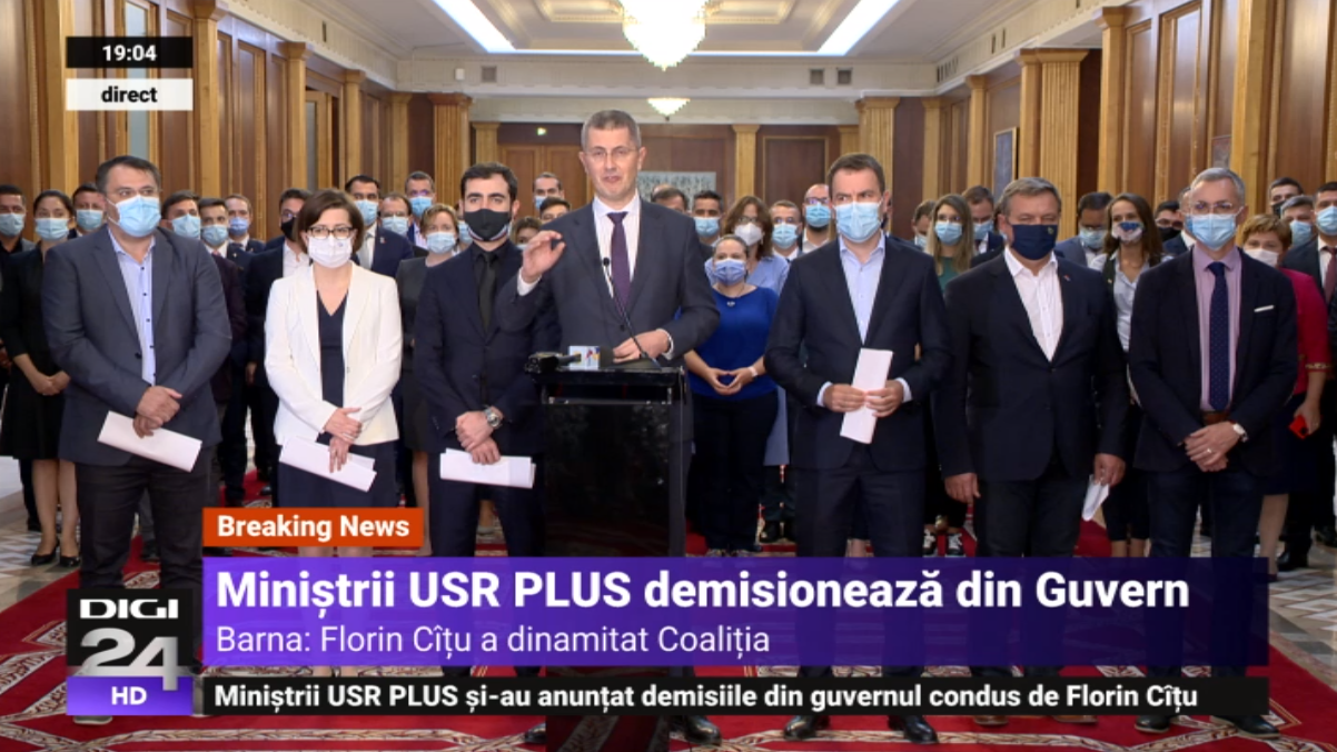 """Barna anunță """"planul B"""" al USR: pleacă din Guvern. Mâine, negocieri degeaba cu Iohannis"""